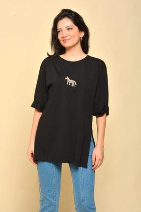 Mossta Yırtmaçlı Salaş Siyah T-shirt