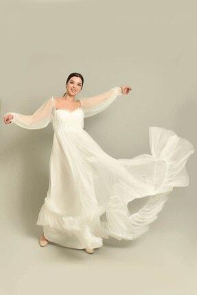 Modakapimda Beyaz Tül Abiye Elbise Nikah Elbisesi