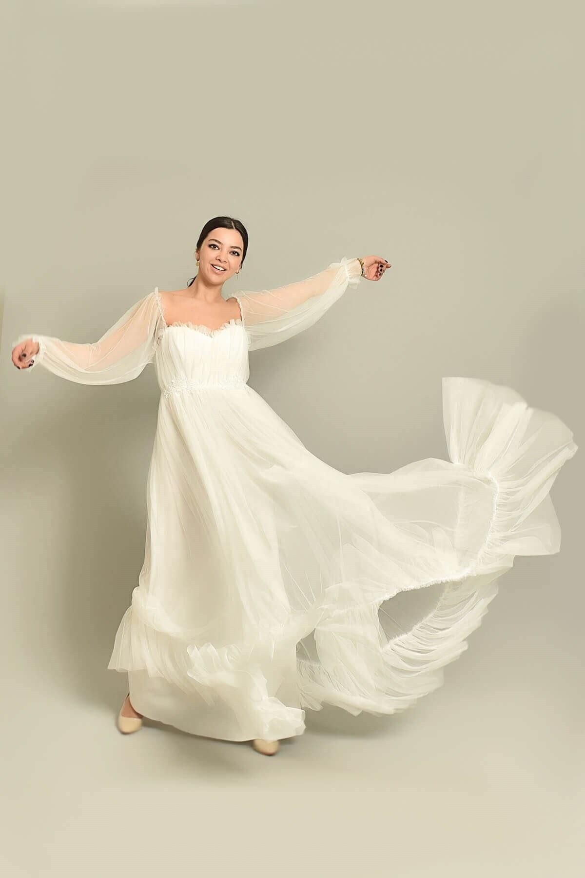 Modakapimda Kadın Beyaz Tül Abiye Elbise 1