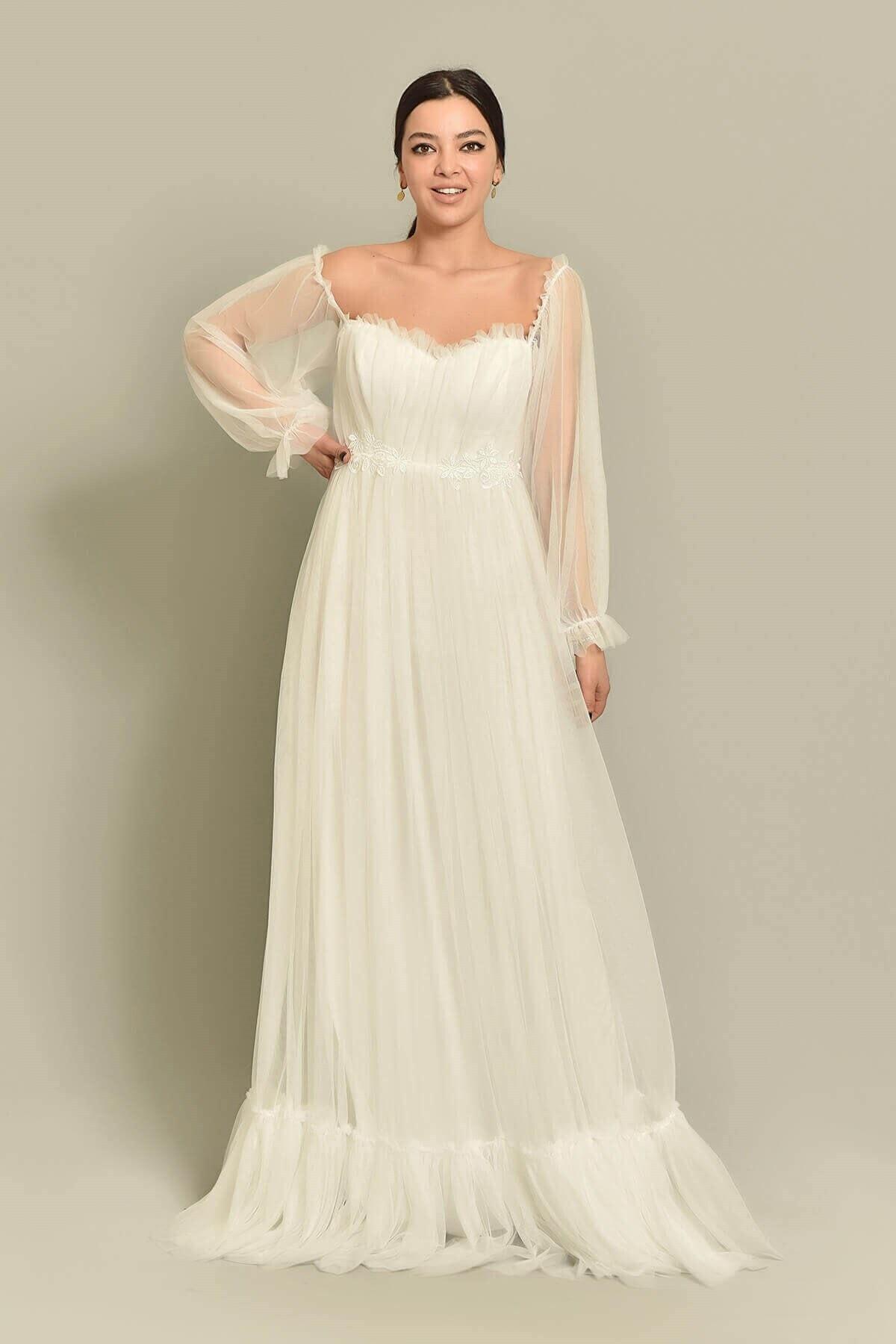 Modakapimda Kadın Beyaz Tül Abiye Elbise 2
