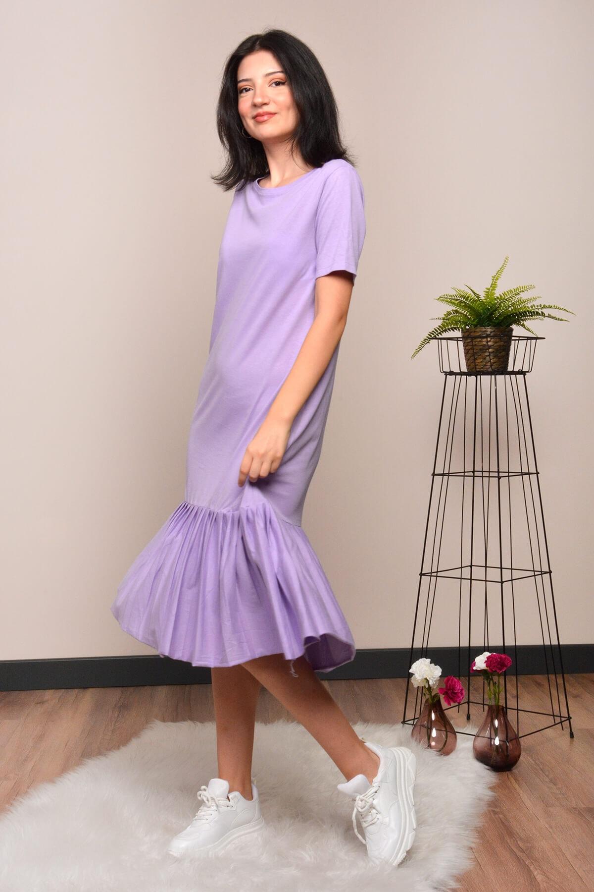 Mossta Kadın Mor Eteği Pileli Elbise 2