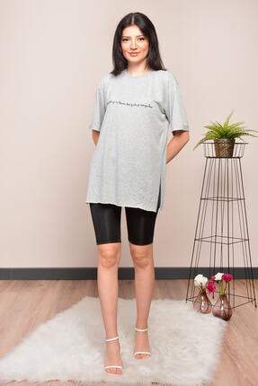Mossta Kadın Gri Yırtmaçlı Salaş T-shirt