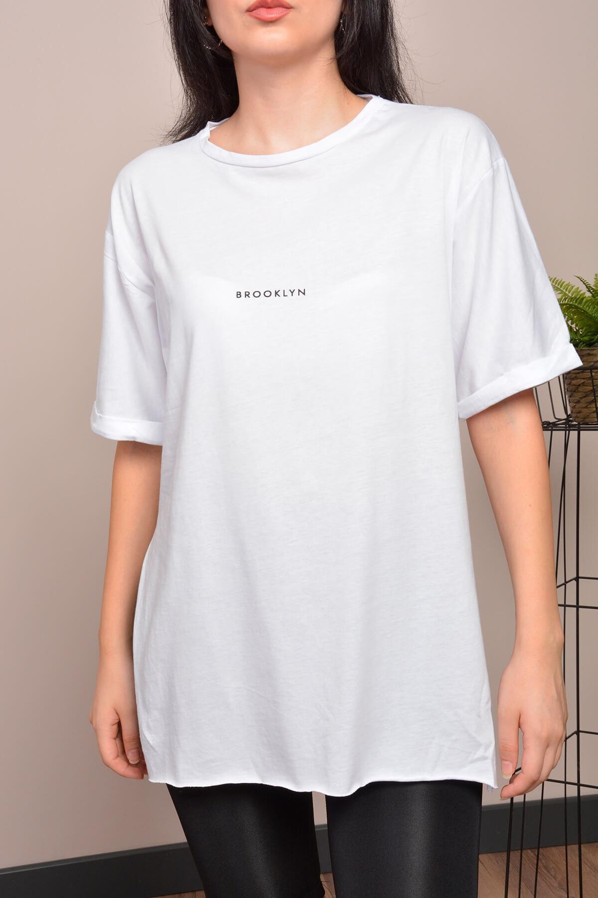 Mossta Kadın Beyaz Yırtmaçlı Lazer Kesim T-shirt 2