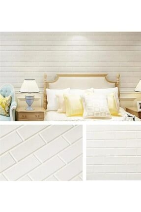 Renkli Duvarlar Nw63 Beyaz 3d Sade Tuğla Kendinden Yapışkanlı Duvar Paneli 6 Adet