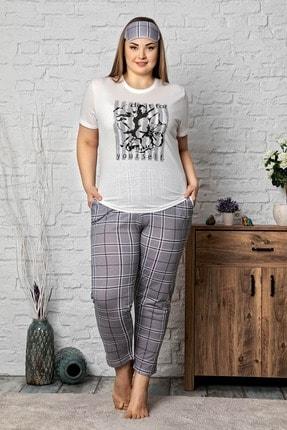 Mossta Kadın Beyaz Gri Kısa Kol Büyük Beden Pijama Takım