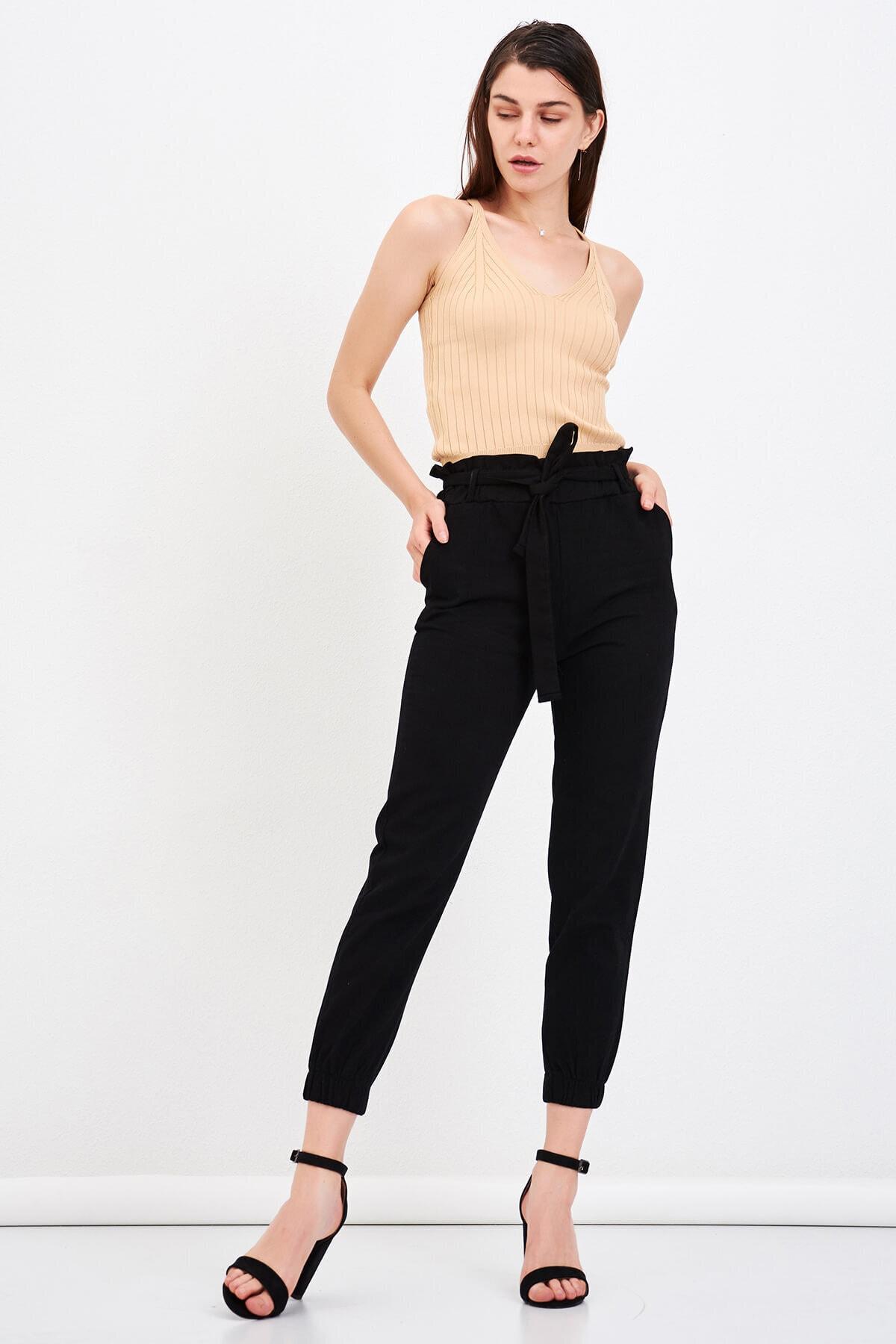 Mossta Kadın Siyah Bel Lastikli Gabardin Pantolon 2