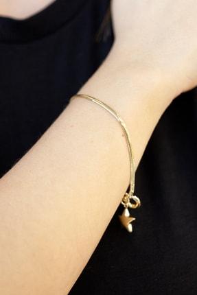 Cenova Kuyumculuk Kadın Sarı 14 Ayar Altın Yıldızlı Ezme Zincir Taşsız Bileklik