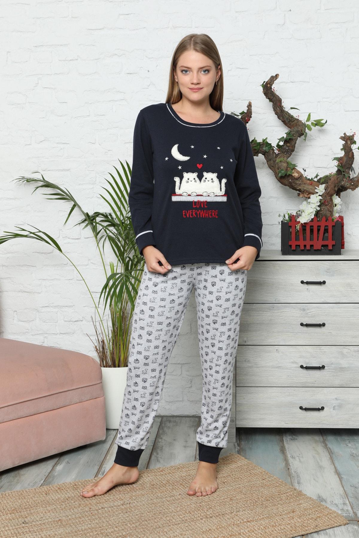 Mossta Kadın Lacivert Kışlık Uzun Kol Pijama Takım 2