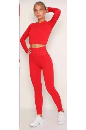 MAGZA Kadın Kırmızı Extra Yüksek Bel Dikişsiz Spor Tayt Crop İle Takım