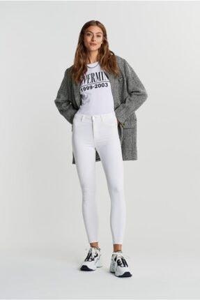 River Island Kadın Beyaz Dar Paça Kot Pantolon