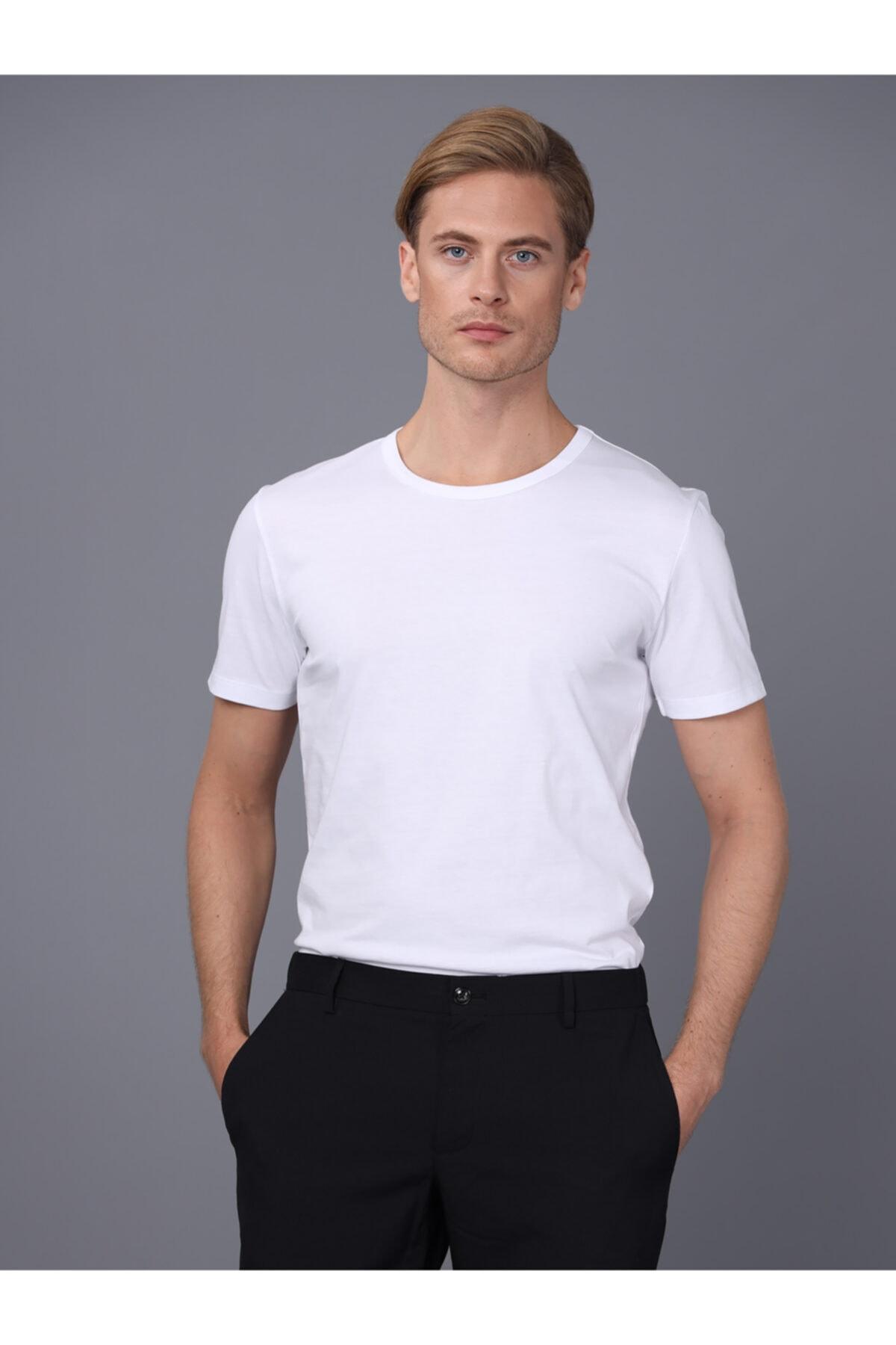 Basics&More Erkek Beyaz Bisiklet Yaka T-shirt 2