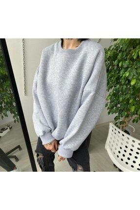 TREND Kadın Gri Basic Polar Baskısız Sweatshirt