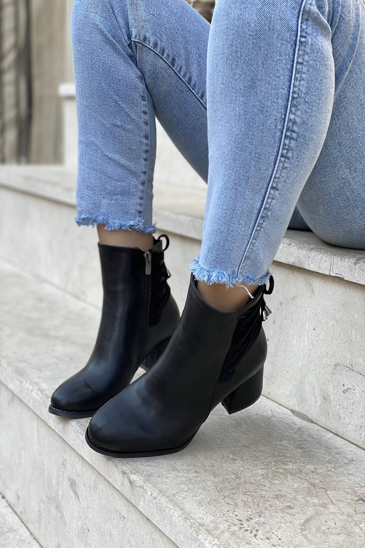 Mida Shoes Siyah Cilt Ipli Fermuarlı Bot 2