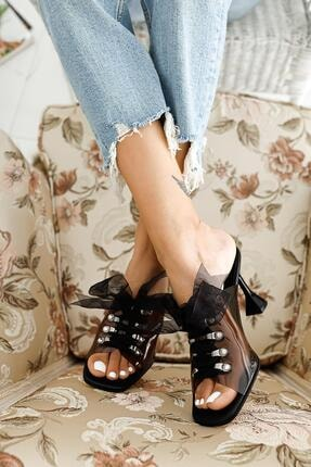 Limoya Kadın Siyah Rugan Bağcıklı Şeffaf Köşeli Burunlu Sandalet