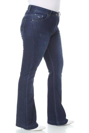 Hanezza Kadın Mavi Ispanyol Paça Pantolon