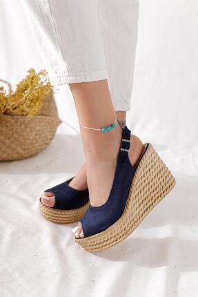 Limoya Kadın Lacivert Süet Dolgu Topuklu Sandalet