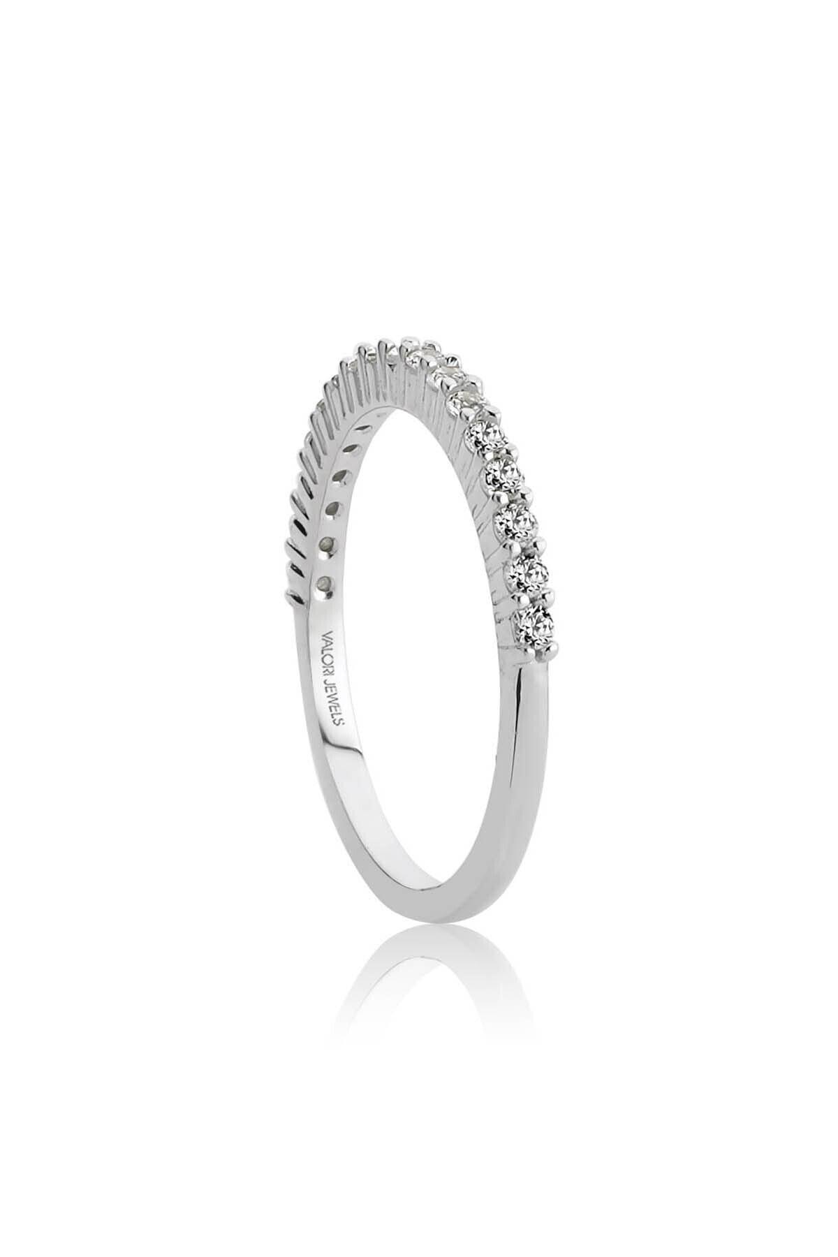 Valori Jewels Yarımtur Zirkon Beyaz Taşlı, Gümüş Yüzük 2