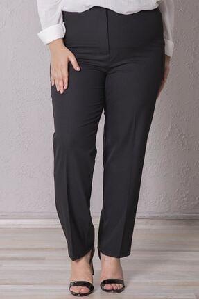 Zafoni Kadın Siyah Beli Lastikli Kumaş Pantolon
