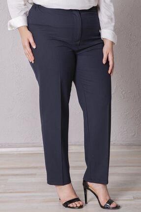 Zafoni Kadın Lacivert Beli Lastikli Kumaş Pantolon