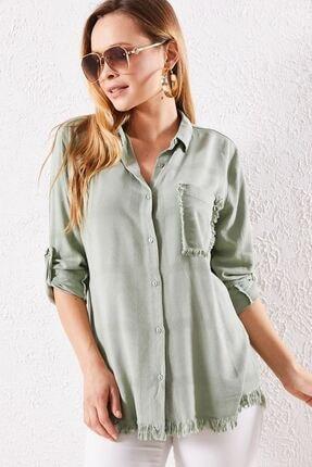 Zafoni Kadın Yeşil Püsküllü Gömlek