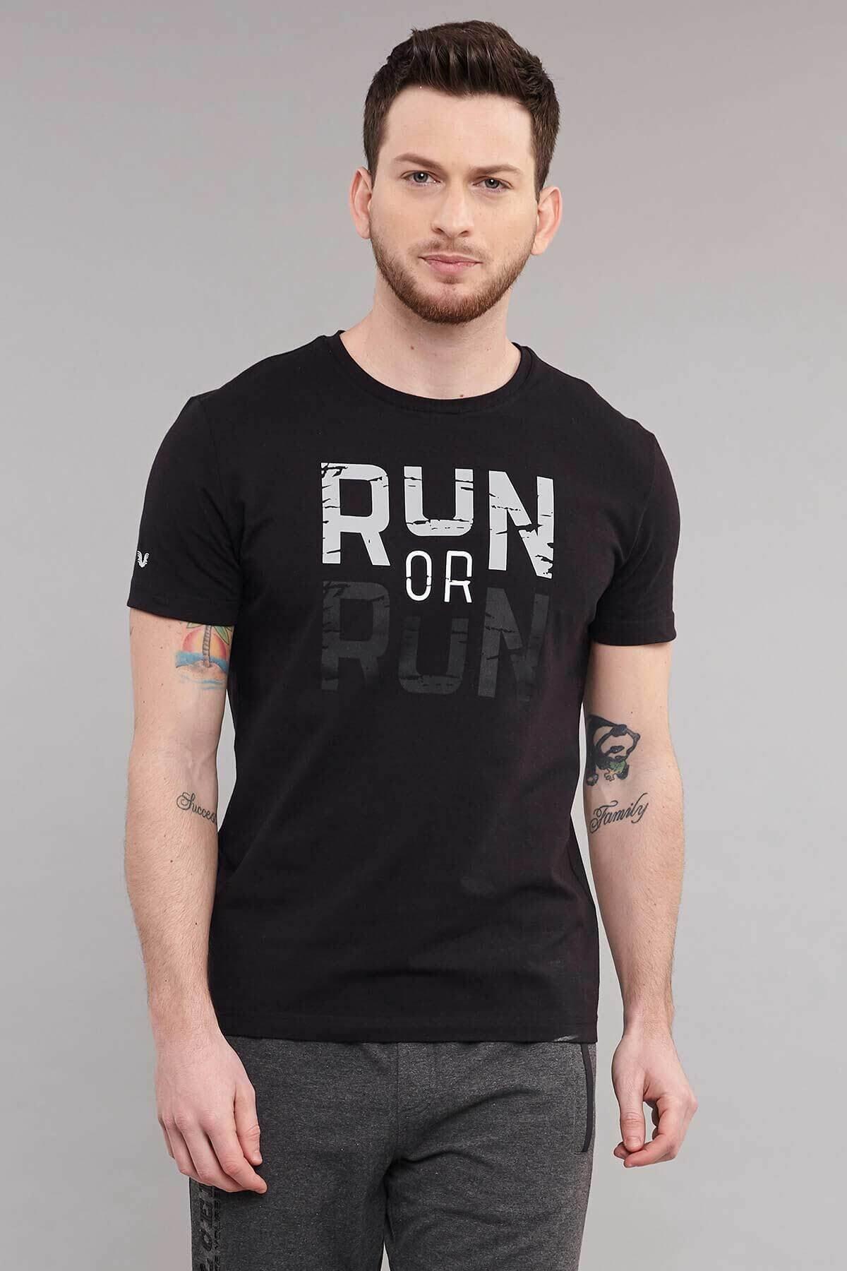 bilcee Siyah Pamuklu Erkek T-Shirt ES-1362 1