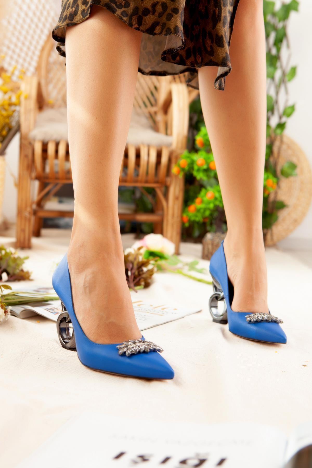 Limoya Kadın Saks Taşlı Halka Topuklu Stiletto 2