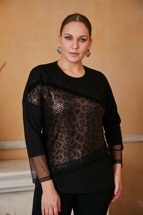 RMG Kadın Siyah Leopar Garnili Büyük Beden Bluz