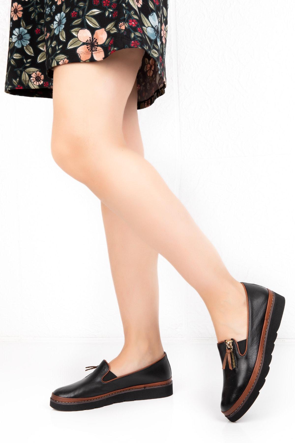 Deripotin Kadın Siyah Hakiki Deri Anatomik Taban Günlük Ayakkabı 2