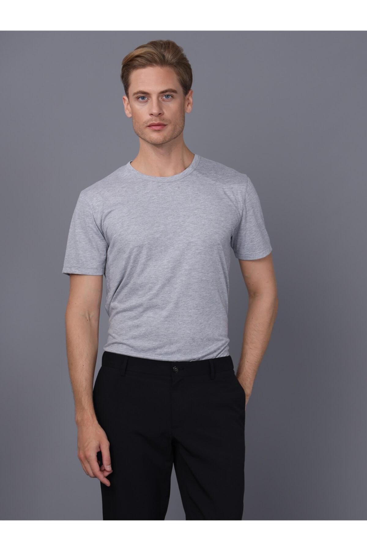 Basics&More Erkek Gri Bisiklet Yaka T-Shirt 1