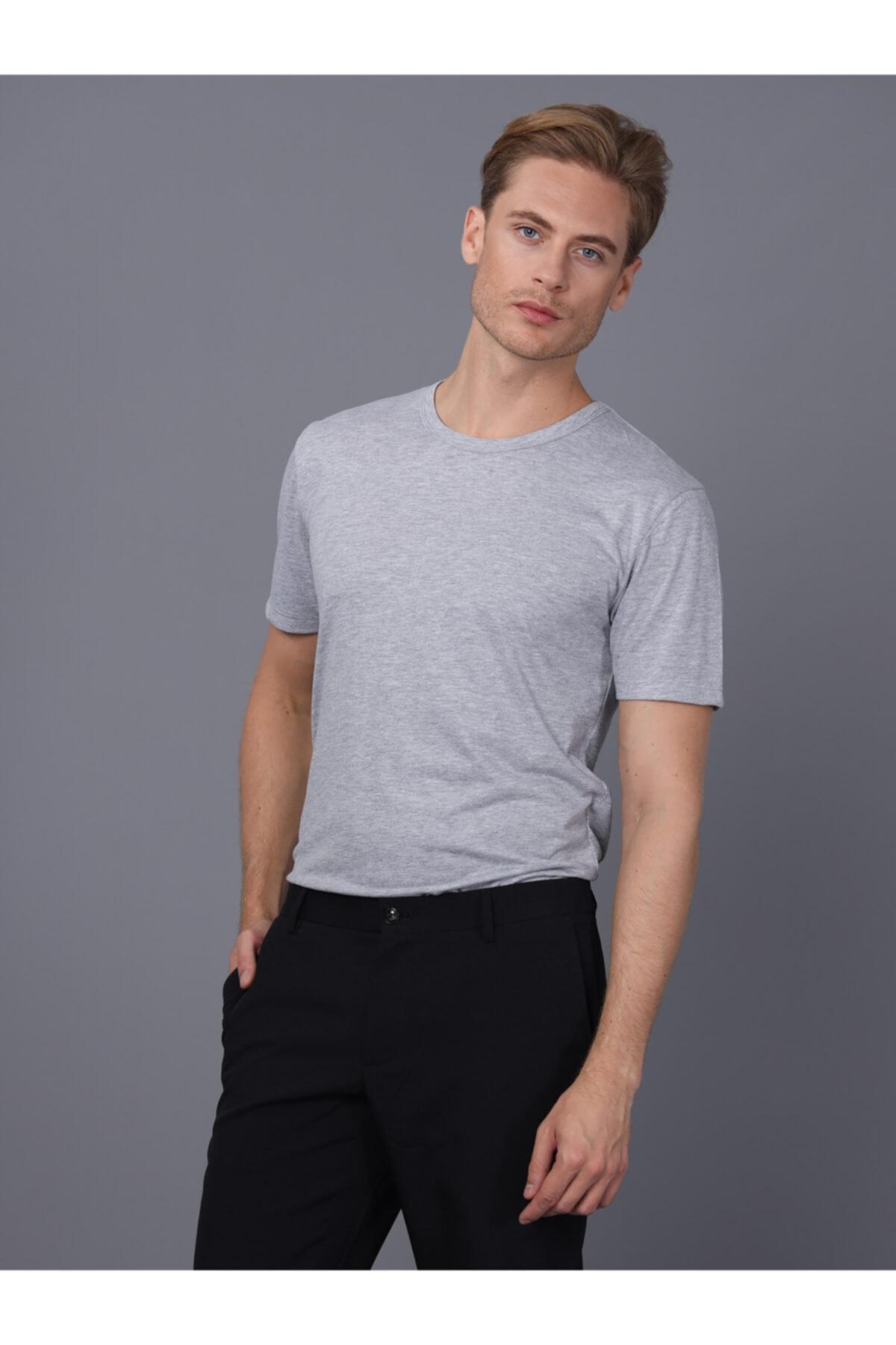 Basics&More Erkek Gri Bisiklet Yaka T-Shirt 2