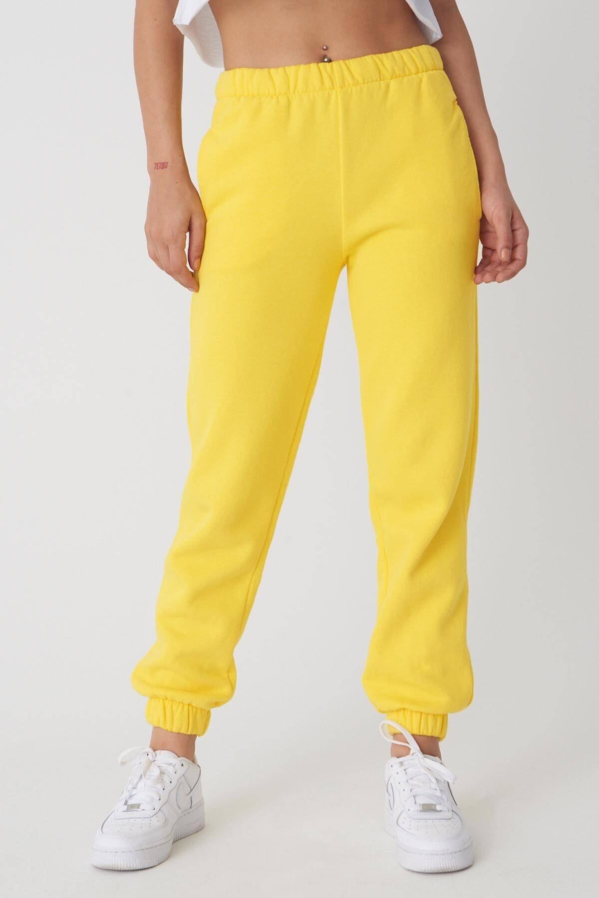 Addax Kadın Limon Sarı Paçası Lastikli Eşofman EŞF0657 - S1 ADX-0000018431 1