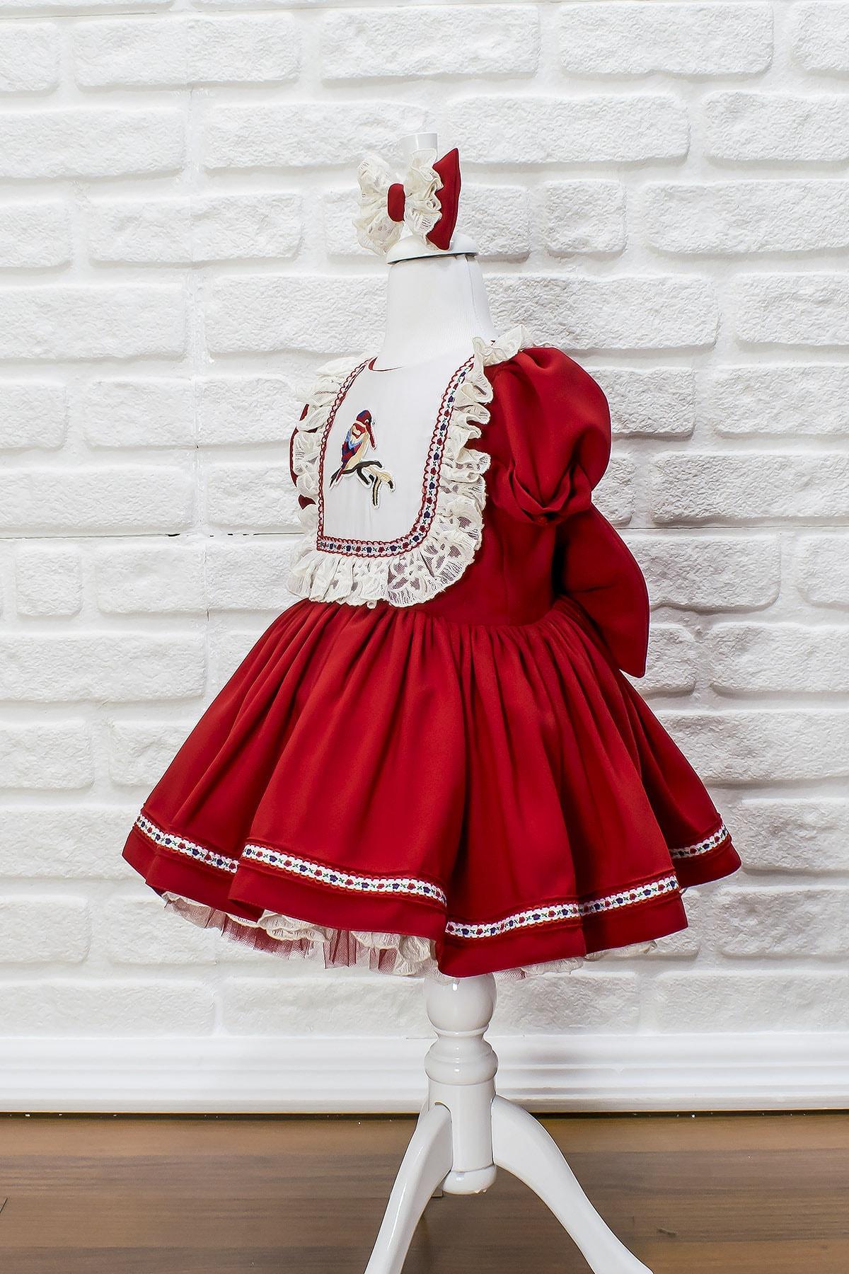 JBK JUST BABY AND KIDS STORE Çocuk Kuş Nakışlı Dantel Detaylı Kırmızı Elbise 2