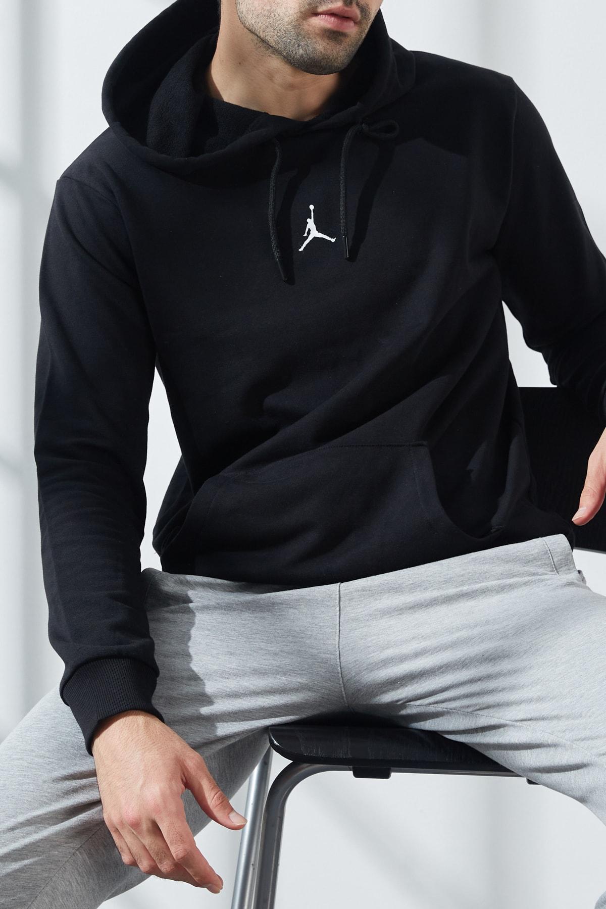 North London Erkek Siyah  Üç Iplik Jordan Baskılı Kapüşonlu Sweatshirt 1
