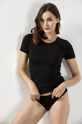 Öztaş Underwear Kadın Siyah Likralı Yarım Kol Atlet  2654-a 3'lü