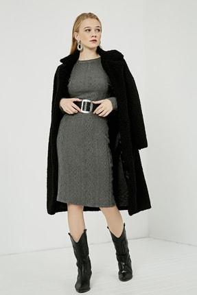 Sateen Kadın Antrasit Uzun Kol Midi Vatkalı Elbise  STN115KEL110