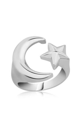 Gumush Kadın Gümüş Ay Yıldız Yüzük