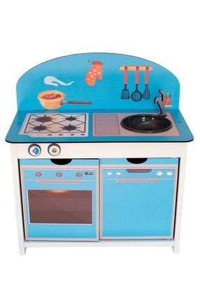 Kidea Ahşap Çocuk Mutfak Seti Mavi