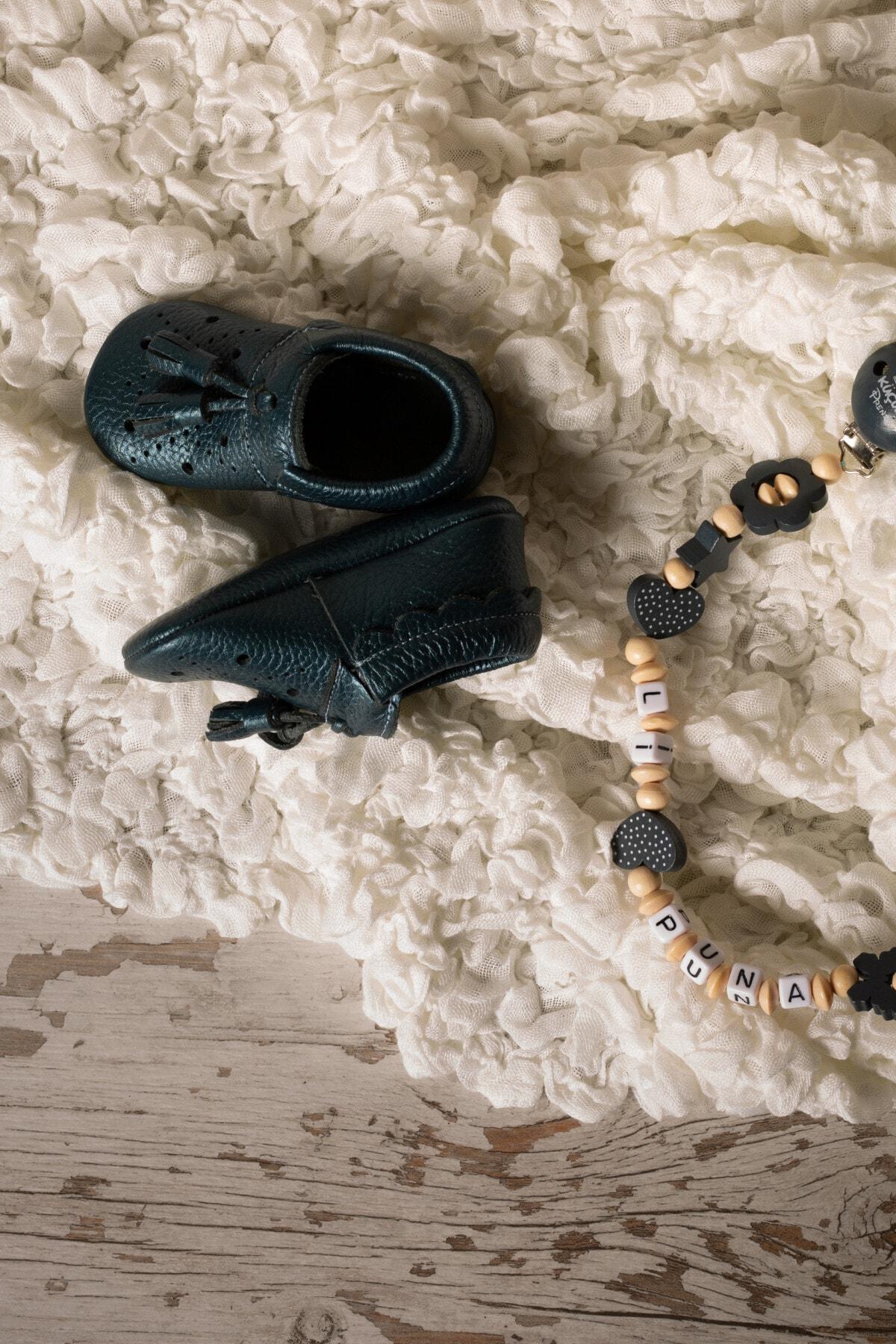 Li Puna Bebek Mavi Royal Serisi Hakiki Deri İlk Adım Ayakkabısı 1