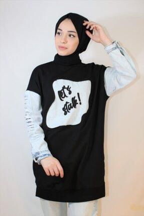 Loreen Kadın Siyah Yazı Baskı Kot Detay Soul Sweatshirt