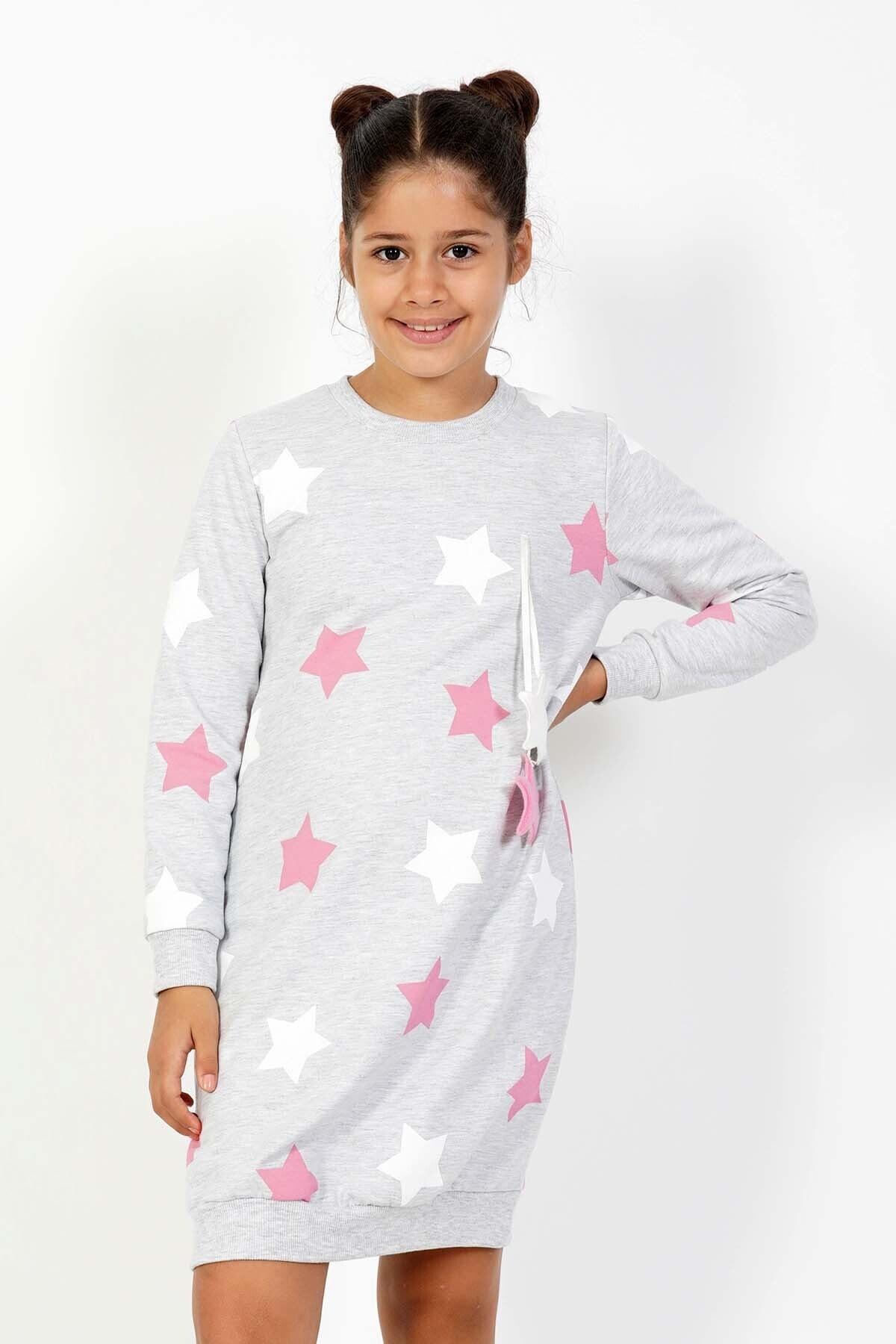 VİENETTA Kız Çocuk Gri Örme Uzun Kol Gecelik 1