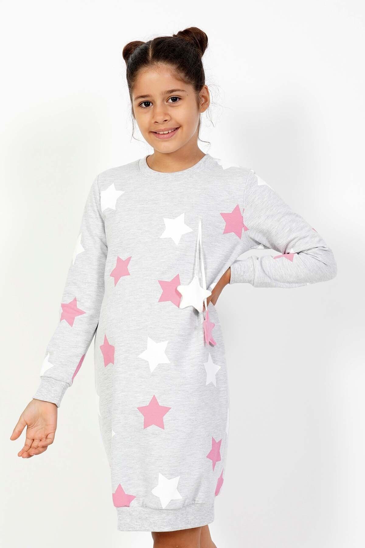 VİENETTA Kız Çocuk Gri Örme Uzun Kol Gecelik 2