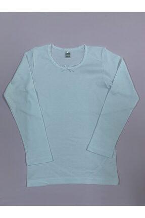 Öztaş Underwear Kız Çocuk Beyaz Ribana Uzun Kollu Fanila