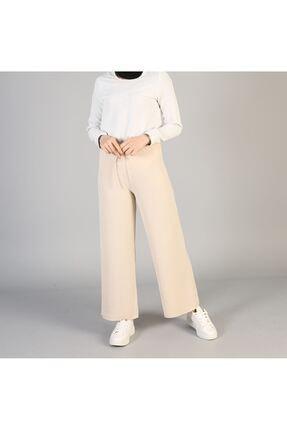 ELBİCA Kadın Bej Bol Paça Pantolon