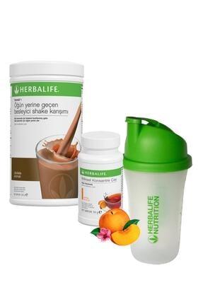 Herbalife Shake Çikolata 550 gr + Çay Şeftali 50 gr + Shaker
