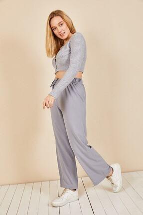 Moda Bu Kadın Gri Beli Lastikli Bol Paça Salaş Yazlık Pantolon