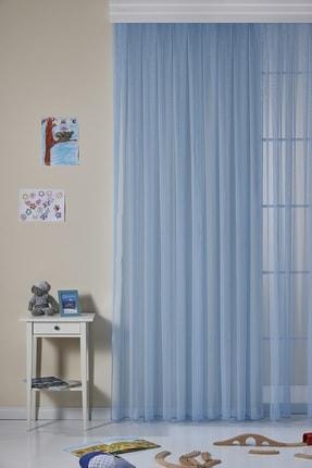 ELENOR Pilesiz  Büzdürmeli Ekstrafor Mavi Ütü Gerektirmeyen Çocuk Odası Düz Tül Perde