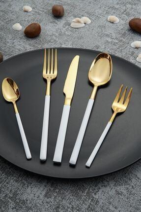 ACAR Julia Gold Paslanmaz Çelik 30 Parça Çatal Kaşık Bıçak Takımı - Beyaz