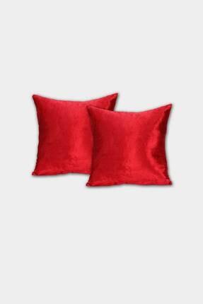 Elart Dekoratif Kırlent Kılıfı Ipek Kadife Kırmızı 2li (45x45)