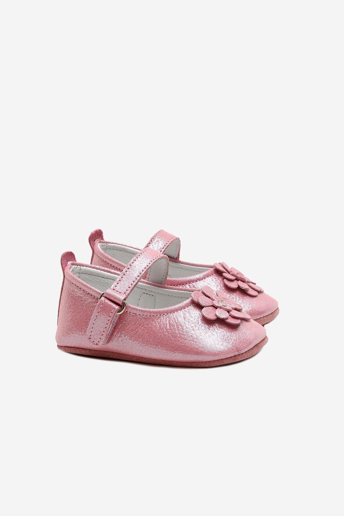 Funny Baby Naturel Deri Çiçekli Babet Bebek Ayakkabı 1