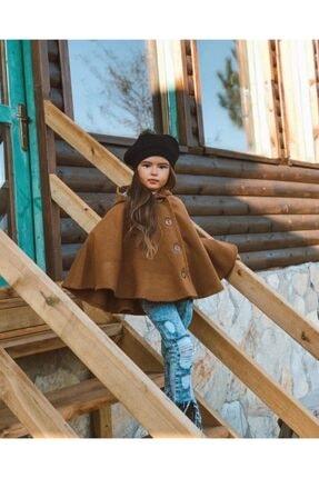 Hilal Akıncı Kids Kız Çocuk Hardal Kapüşonlu Düğmeli Kaşe Panço